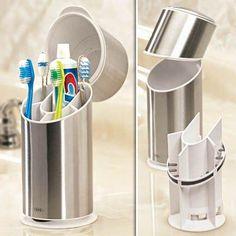 Kitchen Gadgets And Gizmos Organizers Stainless Steel Ideas Toothbrush Organization, Bathroom Organization, Bathroom Storage, Organization Ideas, Toothbrush Storage, Bathroom Ideas, Design Bathroom, Toothbrush Sanitizer, Toothbrush Holders
