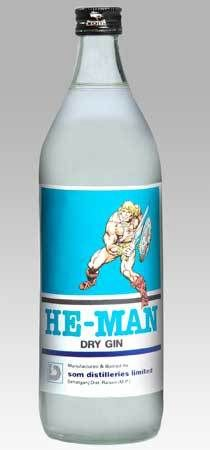 He-man brand Dry Gin: and gin.