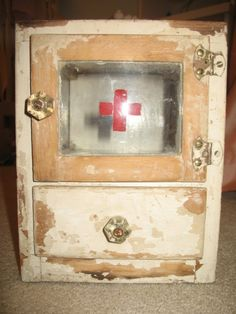 Vintage First Aid Medicine Glass Cabinet with Red by bellalulu