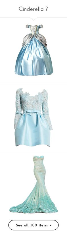"""Cinderella ♔"" by julietxmonnier ❤ liked on Polyvore featuring dresses, gowns, cinderella, disney, blue ball gown, blue gown, blue color dress, blue dress, blue evening gown and vestidos"