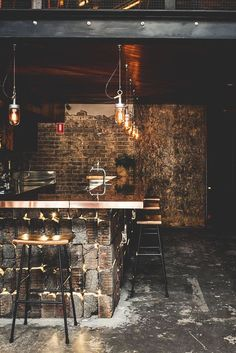 industrial bar wood beams and exposed brick with hanging Edison style pendant lights