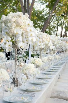 Bobka Baby and Bridal: Extraordinary White Wedding Decor Wedding Centerpieces, Wedding Table, Wedding Decorations, Orchid Centerpieces, Reception Table, Decor Wedding, Table Centerpieces, Table Decorations, Garden Wedding