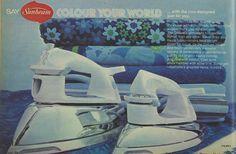 Sunbeam Colour your World Blue Iron Advertisement Ad March 1970 Vintage Retro