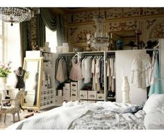 Perfect bedroom + wardrobe space + chandeliers - I WANT IT ALL!