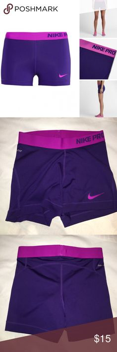 Nike Pro Spandex once worn in perfect condition. colors: amethyst/ hyper pink. size small Nike Shorts