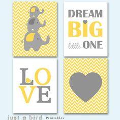 Elephant art print, chevron printable, yellow grey elephant nursery art, Dream big little one, Set of 4 prints, INSTANT DOWNLOAD