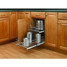 """5WB Series 15"""" Double Pull Out Chrome Wire Basket"""