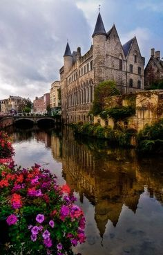 Belgium, Ghent, Medieval castle of the counts. In the Middle-Ages metropolis…