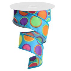 """Turquoise with Dots Size: 1.5"""" x 10 yards Color: Turquoise with orange, pink, purple green dots Wire edge ribbon - see more ribbon styles at http://www.trendytree.com  #trendytree #ribbon"""