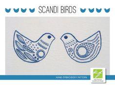 Scandi Birds modern Scandinavian hand embroidery pattern