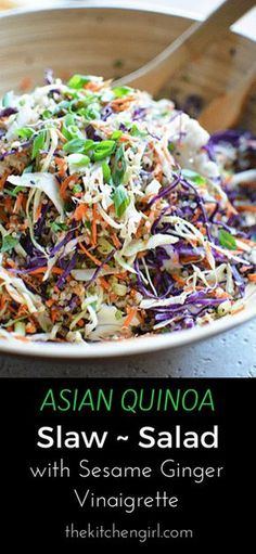 Eat clean with this raw veggie and quinoa salad. Asian Quinoa Slaw Salad Sesame Ginger Vinaigrette. thekitchen girl.com #glutenfree #vegan #dairyfree #asiansalad #choppedsalad #mealprep #healthyrecipe #saladforlunch