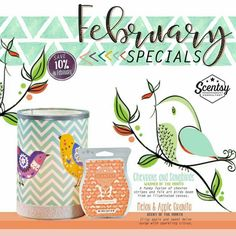 The groundhog may have predicted 6 more weeks of winter, but I'm thinking Spring with Scentsy's February specials. Chevrons and Songbirds and Melon and Apple Granita--a perfect way to end the winter doldrums. #think spring #scentsycanhelp #smellygoodness #10percentoffinfebruary Find me on Facebook and shop at: https://tracytodaro.scentsy.us