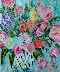 Anna by Carolyn Shultz is one of my newest pieces, large palette knife painting featuring bold colorful abstract blooms in a vase. Very textured