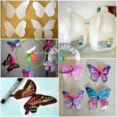 Cómo hacer mariposas con botellas recicladas.Estas hermosas mariposas realizadas con botellas plásticas,son de lo más simple pero agregan colorido al jardín