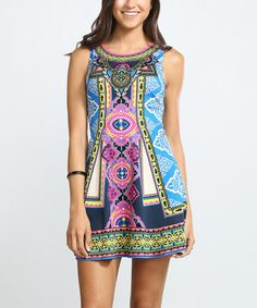 This Blue & Purple Geometric Fit & Flare Dress by Flying Tomato is perfect! #zulilyfinds