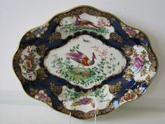Antique Booths Dr Wall style Scale Blue Exotic Birds Lozenge shaped dish