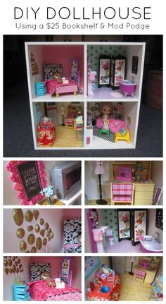 VIDEO HOW TO and 20+ detail photos. Ikea Hack! DIY Dollhouse from a bookshelf. Wallpaper and floors are paper and fabrics that are attached with Mod Podge. + Mod Molds are used to create frames and art installations. Perfect size for Blythe, Pullip and Barbie Dolls.