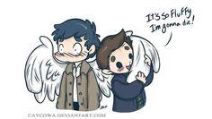 Supernatural. Dean is practically molesting Cas!