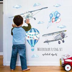 Cartoon Hot Air Balloon Wall Stickers Animals Kids room Baby Nursery Room Decoration Wall Decals Eco-friendly Art Vinyl Murals - Style F