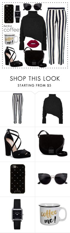 """""""simply dark for 'Coffee break'#3  #coffeebreak #butfirstcoffee #forcoffeebreakstyle"""" by olavistyle ❤ liked on Polyvore featuring River Island, Ann Demeulemeester, Nina, Loeffler Randall, Kate Spade, Isabel Marant and Lime Crime"""
