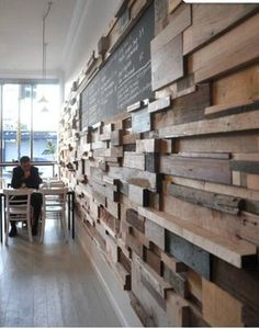 oh, wow, wood wall. could use some as shelves