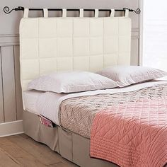 Removable DIY Bed Headboard Ideas Bringing Warmth and Softness into Bedroom Decor Echo Bedding, Plaid Bedding, Bedding Master Bedroom, Rustic Bedding, Dorm Bedding, Bedroom Decor, Diy Bed Headboard, Quilted Headboard, White Headboard