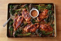 QUICK CHICKEN & BABY BROCCOLI WITH SPICY PEANUT SAUCE from Sheet Pan Suppers Cookbook