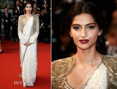 Sonam in vintage style saree and brocade jacket. Wearing Anamika Khanna at the premiere of the Great Gatsby at Cannes 2013