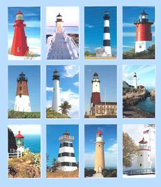 American Light houses - 12 blocks -  each block 10 by 16 inches - you choose  color of borders - on hand I have a medium blue print border