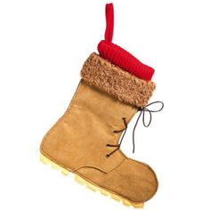 "13.5"" Brown and Red Lumber Jack Hiking Boot Christmas Stocking 