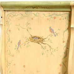 Nesting Blue Bird Crib with Aged Green Finish