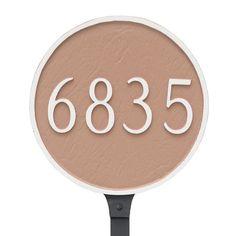 Montague Metal 9.5 in. Round Address Sign Lawn Plaque - PCS-0001S1-L-BRS