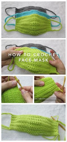 Crochet face mask, it will not keep you safe but you can create a symbol of the hard times that world is going through these day Crochet Home, Crochet Gifts, Easy Crochet, Free Crochet, Knit Crochet, Crochet Mask, Crochet Faces, Knitting Patterns, Crochet Patterns