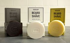 Hudson Made, Beard & Shave Soaps  - The Dieline - Love the embossing of packaging. Mimics indentation of logo on soap itself.