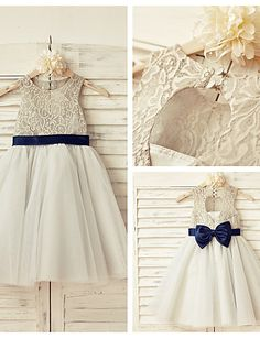 A-line Knee-length Flower Girl Dress - Lace / Tulle Sleeveless Scoop with 2016 - $59.99