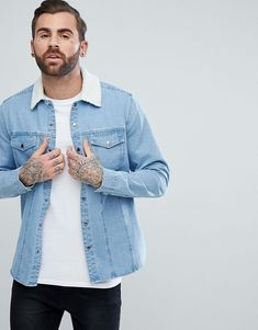 cf4d58106c ASOS - Denim Overshirt With Borg Outershell In Mid Wash -  48.00