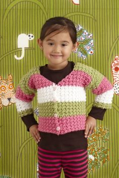 Nine Lives Children's Crochet Sweater, worked in 1 piece