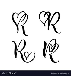 Vector Set of Vintage floral letter monogram R. Vector Set of Vintage floral letter monogram R. Hand drawn heart sign for page d. Neue Tattoos, Music Tattoos, Lettering For Tattoos, Quote Tattoos, Floral Letters, Monogram Letters, Letter R Tattoo, Tatto Letters, Monogram Tattoo