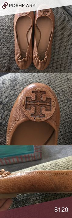Authentic Tory Burch brown leather flats Gently worn (4/5 times) small stain from water on the instep of the left shoe. Picture shows detail, not noticeable when she's are on your feet. Tory Burch Shoes Flats & Loafers