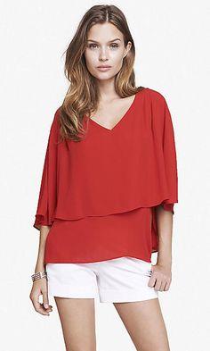 v-neck cape blouse