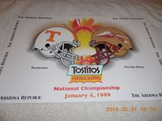 TOSTITOS FIESTA BOWL POSTER 1999 NATIONAL CHAMPIONSHIP TENNESSEE FLORIDA STATE