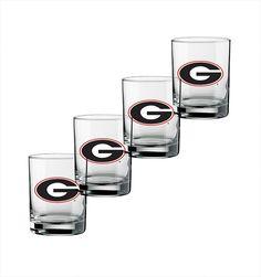 Collegiate Georgia 14 Oz Glass (Set of 4)