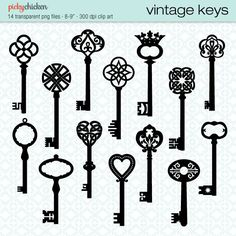 Vintage Keys - 14 black skeleton keys clip art - Celtic, Baroque, ornate, French, classic designs