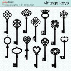 Vintage Keys - 14 black skeleton keys clip art - Celtic, Baroque, ornate, French, classic designs