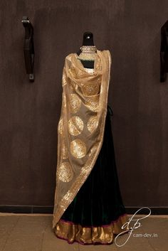 Velvet lehenga with a sequinned choli and dupatta