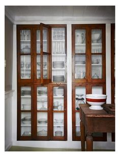 Small Space Solutions: Recessed Storage--could we incorporate this into our plank wall redo for linen storage? room ideas with china cabinet Small Space Solutions: Recessed Storage Decor, Interior, Kitchen Remodel, Recessed Storage, Cabinetry, Dining Room Storage, Home Decor, Home Kitchens, Small Space Solutions