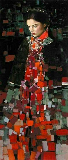 Title unknown -- by artist Irene Sheri Ukrainian) aka Irene Sheri Vishnevskaya. Painting People, Figure Painting, Painting & Drawing, Modern Art, Contemporary Art, Klimt Art, Gustav Klimt, Figurative Kunst, Portrait Art
