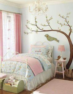 Cute bedroom ideas for girl (baby, toddler, little girl & twin teenage girl).Cute painting and decoration for girls room. Master Bedroom Interior, Bedroom Wall, Bedroom Decor, Kids Bedroom, Light Bedroom, Cute Bedroom Ideas, Girl Bedroom Designs, Simple Girls Bedroom, Cool Beds For Teens