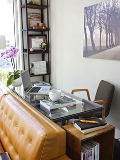 Desk behind the sofa...  Put home office behind the couch. 13 Creative Places to Fit a Home Office via Brit + Co.