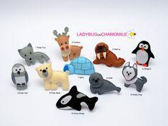 POLAR ANIMALS. Polar fox, Caribou, Walrus, Penguin, Polar owl, Igloo, Husky dog, Orca, Seal